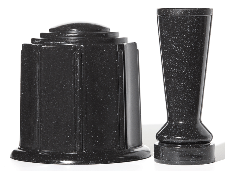 Black Granite Urn & Vase Set